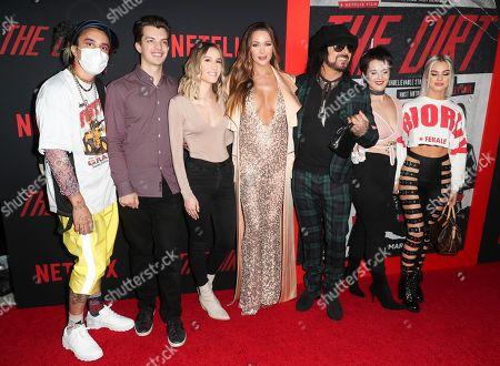 Courtney Bingham (C), Nikki Sixx (CR) and his kids
