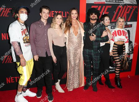 Stock Picture of Courtney Bingham (C), Nikki Sixx (CR) and his kids