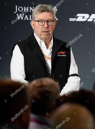 Ross Brawn, Formula One Managing Director of Motorsports, wears a black armband after the death of FIA Formula One Race Director Charlie Whiting, during a press conference at the Australian Grand Prix in Melbourne, Australia, . The first race of the year is Sunday