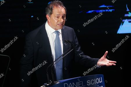 Daniel Scioli, Vice President of Argentina during the Government of Nestor Kirchner (2003-2007), delivers a speech during an event in the ND Athenian theatre in Buenos Aires, Argentina, 14 March 2019. Scioli announced his candidacy for the presidential elections, scheduled to be held 27 October 2019.