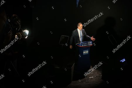 Stock Image of Daniel Scioli, Vice President of Argentina during the Government of Nestor Kirchner (2003-2007), delivers a speech during an event in the ND Athenian theatre in Buenos Aires, Argentina, 14 March 2019. Scioli announced his candidacy for the presidential elections, scheduled to be held 27 October 2019.