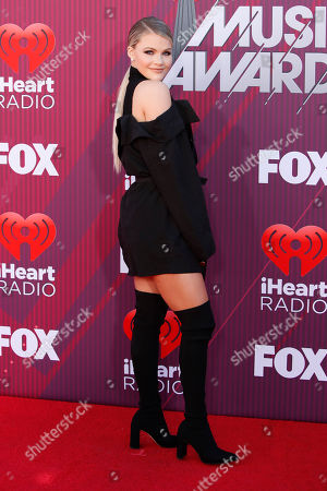 Witney Carson poses for the photographers as she arrives for the 2019 iHeartRadio Music Awards at the Microsoft Theater in Los Angeles, California, USA, 14 March 2019. The iHeartRadio Music Awards celebrates the most-played artists and songs on iHeartRadio stations and the iHeartRadio app throughout the previous year.