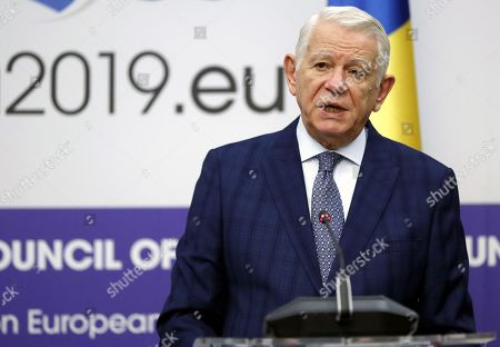 Minister of Foreign Affairs of Romania Teodor Melescanu attends a joint press conference with his Croatian counterpart after their official meeting held at Foreign Ministry Headquarters in Bucharest, Romania, 15 March 2019.