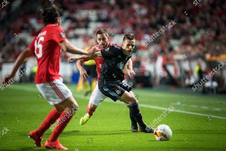 Stock Photo of Damian Kadzior of Dinamo Zagreb vies for the ball with Andrija Zivkovic of Benfica