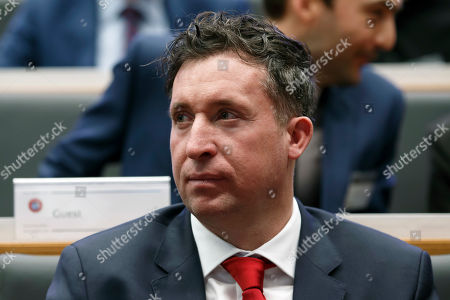 Robbie Fowler, Ambassador of FC Liverpool, attends the drawing of the soccer matches for the UEFA Champions League 2018/19 quarter-finals at the UEFA headquarters in Nyon, Switzerland, 15 March 2019.