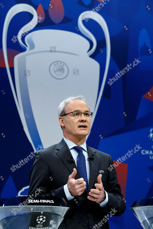 UEFA deputy secretary general Giorgio Marchetti speaks, during the drawing of the matches for the UEFA Champions League 2018/19 quarter-finals at the UEFA headquarters in Nyon, Switzerland, 15 March 2019.