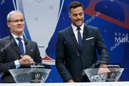 Brazilian former soccer player Julio Cesar, right, and UEFA deputy secretary general Giorgio Marchetti, left, during the drawing of the soccer matches for the UEFA Champions League 2018/19 quarter-finals at the UEFA headquarters in Nyon, Switzerland, 15 March 2019.
