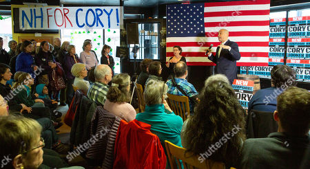 Democratic candidate for United States Presidency Cory Booker (R) addresses voters at a campaign stop in Lebanon, New Hampshire, USA, 15 March 2019. Senator Booker is on a campaign tour of New Hampshire while pursing the Democratic nomination for United States President in the 2020 national election.