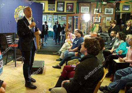 Democratic candidate for United States Presidency Cory Booker (L) addresses voters at a campaign stop in Lebanon, New Hampshire, USA, 15 March 2019. Senator Booker is on a campaign tour of New Hampshire while pursing the Democratic nomination for United States President in the 2020 national election.