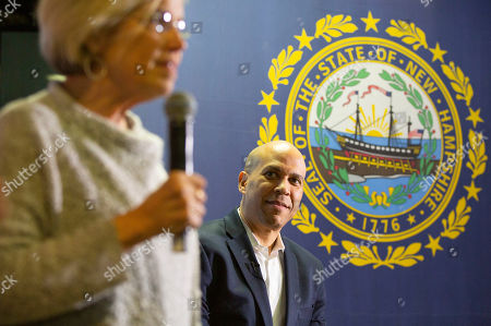 Democratic candidate for United States President Cory Booker (R) prepares to address voters at a campaign stop in Lebanon, New Hampshire, USA, 15 March 2019. Senator Booker is on a campaign tour of New Hampshire while pursing the Democratic nomination for United States President in the 2020 national election.