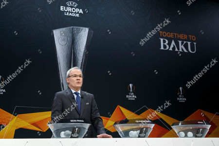 UEFA deputy secretary general Giorgio Marchetti speaks during the drawing for the UEFA Europa League 2018/19 quarter-finals at the UEFA headquarters in Nyon, Switzerland, 15 March 2019.
