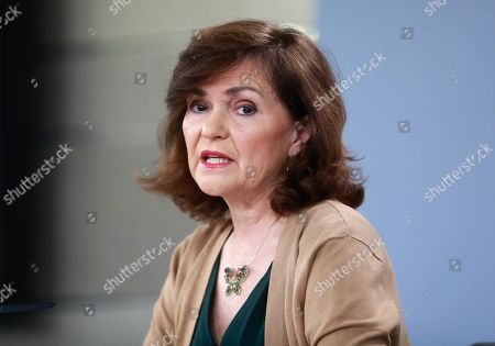 Spanish Vice Prime Minister Carmen Calvo speaks during a press conference following a Cabinet Meeting in Madrid, Spain, 15 March 2019. Calvo announced that the mortal remains of Spanish dictator Francisco Franco will be exhumated from the Valle de los Caidos and buried again in a pantheon at the Mingorrubio cemetery on the upcoming 10 June.