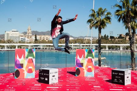 Dani Rovira jumps as he poses for photographers during the presentation of the movie 'Taxi a Gibraltar' (Taxi to Gibraltar) at the Malaga Film Festival, in Malaga, Spain, 15 March 2019. The film festival runs place from 15 to 24 March.