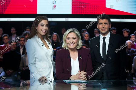 Stock Picture of Lea Salame, Marine Le Pen and Thomas Sotto