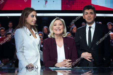 Stock Image of Lea Salame, Marine Le Pen and Thomas Sotto