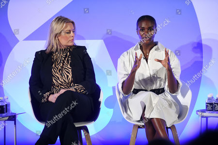 Mims Davies (Minister for Sport, Department for Digital, Culture, Media and Sport) and Dina Asher-Smith (British Athletics)