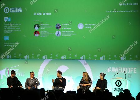 Stock Picture of John McCarthy (Reporter at The Drum), Adam Harris (Director of Custom Solutions Europe, Twitch), Eric Serra (Head of Digital Channels, FC Barcelona), Sally Burtt-Jones (Senior Director, Business Development, Rakuten Viber) and Kate Ward (Executive Vice President and Head of International, Refinery29)