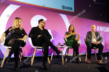 Stock Photo of Barbara Soltysinska (Co-Founder & CEO, indaHash), Jason Harris (President/CEO, Mekanism), Bianca Best (Managing Director of BLINK and Strategic Partnerships, MediaCom) and Chris Wilson