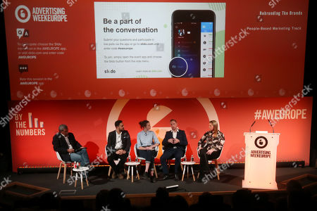 Stock Image of Chris Babayode (Managing Director EMEA, Mobile Marketing Association), Carl Carter (Head of Marketing strategy and Effectiveness, IRI), Amy Williams (CEO, Good-Loop), Pete O'Mara Kane (GM, International, LoopMe) and Celine Saturnino (Chief Commercial Officer, Total Media)