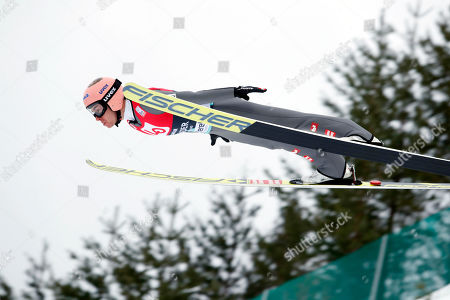 Stefan Kraft of Austria in action during the Flying Hill training round of the FIS Ski Jumping World Cup in Vikersund, Norway, 15 March 2019.