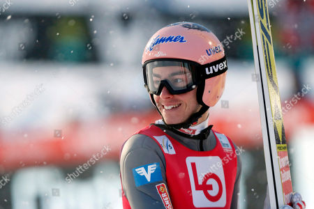 Stefan Kraft of Austria reacts during the Flying Hill qualification round of the FIS Ski Jumping World Cup in Vikersund, Norway, 15 March 2019.