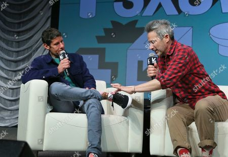 Adam Horovitz, Michael Diamond. The Beastie Boys' Adam Horovitz, right, comments on Michael Diamond's socks during a keynote conversation at the Austin Convention Center during the South by Southwest Music Festival, in Austin, Texas
