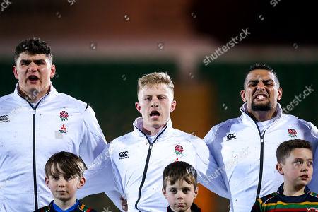 James Scott, Ollie Fox and Kai Owen of England U20