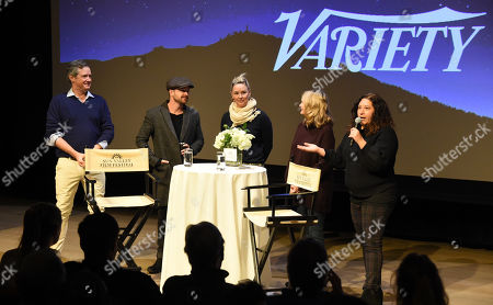 Aaron Paul, Malina Saval, Dea Lawrence, SVFF Director Candice Pate and SVFF Executive Director Teddy Grennan attend the 2019 Sun Valley Film Festival 'Coffee Talk' Pioneer Award given to Aaron Paul hosted by Ford and Variety, held at the Argyros Theatre in Sun Valley, ID