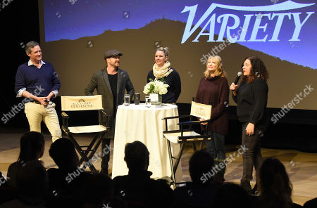 Stock Image of Aaron Paul, Malina Saval, Dea Lawrence, SVFF Director Candice Pate and SVFF Executive Director Teddy Grennan attend the 2019 Sun Valley Film Festival 'Coffee Talk' Pioneer Award given to Aaron Paul hosted by Ford and Variety, held at the Argyros Theatre in Sun Valley, ID