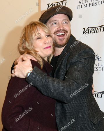 Aaron Paul and Dea Lawrence attend the 2019 Sun Valley Film Festival 'Coffee Talk' Pioneer Award given to Aaron Paul hosted by Ford and Variety, held at the Argyros Theatre in Sun Valley, ID
