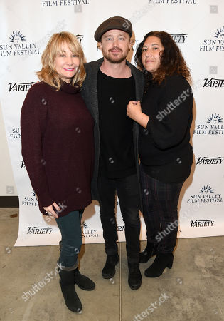 Malin Saval, Aaron Paul and Dea Lawrence attend the 2019 Sun Valley Film Festival 'Coffee Talk' Pioneer Award given to Aaron Paul hosted by Ford and Variety, held at the Argyros Theatre in Sun Valley, ID