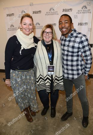 SVFF Director Candice Pate, Celeste Matika of SVFF, and Steven Wilson of Scenario PR attend the 2019 Sun Valley Film Festival 'Coffee Talk' Pioneer Award given to Aaron Paul hosted by Ford, held at the Argyros Theatre in Sun Valley, ID