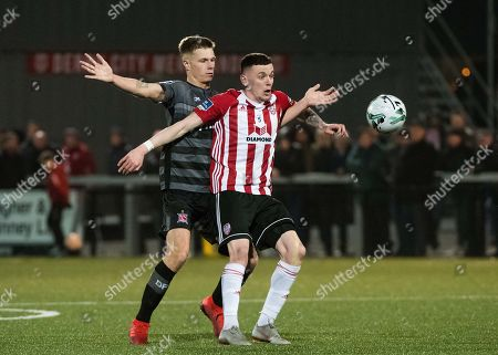 Derry City vs Dundalk. Derry City's David Parkhouse with Daniel Cleary of Dundalk