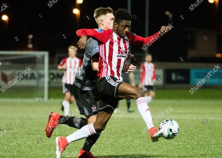 Stock Photo of Derry City vs Dundalk. Derry City's Junior Ogedi-Uzokwe with Daniel Cleary of Dundalk