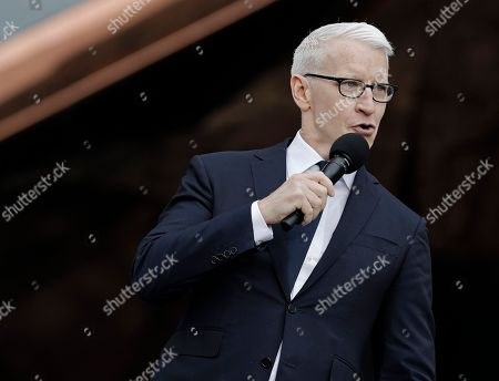 CNN news anchor Anderson Cooper speaks at the Hudson Yards Grand Opening Ceremony at Hudson Yards in New York, New York, USA, 15 March 2019. Hudson Yards is a real estate development on Manhattan's westside in the neighborhood of  Chelsea, which will feature both residential and commercial space along with retail shopping, fine dining, a ten screen movie theater, a public school, and artist exhibition space.