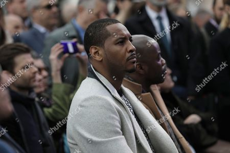 Former New York Knick basketball player Carmelo Anthony attends the Hudson Yards Grand Opening Ceremony at Hudson Yards in New York, New York, USA, 15 March 2019. Hudson Yards is a real estate development on Manhattan's westside in the neighborhood of  Chelsea, which will feature both residential and commercial space along with retail shopping, fine dining, a ten screen movie theater, a public school, and artist exhibition space.