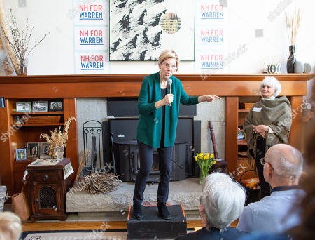 Stock Image of Democratic candidate for United States President Elizabeth Warren addresses a group of voters at the home of Jim and Liz Smith, during a campaign stop in Salem, New Hampshire, USA, 15 March 2019.
