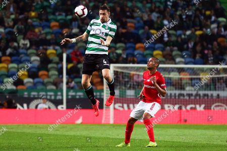 Sporting's Sebastian Coates (L) in action against Santa Clara's Guilherme Schettine (R) during the Portuguese First League soccer match between Sporting Lisbon and Santa Clara at Alvalade Stadium in Lisbon, Portugal, 15 March 2019.