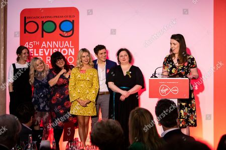 Siobhan McSweeney, Louisa Harland, Saoirse-Monica Jackson, Dylan Llewellyn, Nicola Coughlan, Lisa McGee, all of Derry Girls
