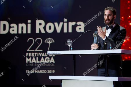 Dani Rovira receives his award during the Spanish Film Festival opening gala at Cervantes Theatre in Malaga, Spain, 15 March 2019. The film festival runs from 15 to 24 March.