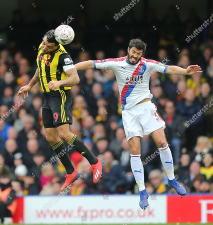 Troy Deeney of Watford  and  James Tomkins of Crystal Palace