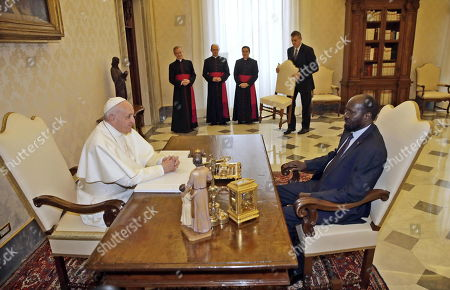 Pope Francis meets South Sudan President Salva Kiir Mayardit during a private audience, Vatican City, 16 March 2019.
