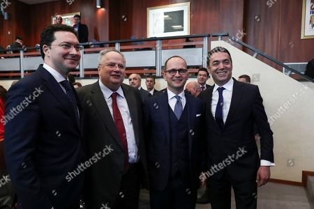 North Macedonia's Foreign Minister Nikola Dimitrov, right, Albania's former Foreign Minister Ditmir Bushati, 2nd right, Greek former Foreign Minister Nikos Kotzias, 2nd left, and Bulgaria's former Foreign Minister Daniel Pavlov Mitov, pose ahead of an Academic conference in Athens