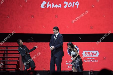 World Cup ambassador Yao Ming, (C), attends the FIBA Basketball World Cup 2019 Draw in Shenzhen, Guangdong Province, China, 16 March 2019. FIBA Basketball World Cup 2019 will take place in China from 31 Aug. to 15 Sept. 2019.