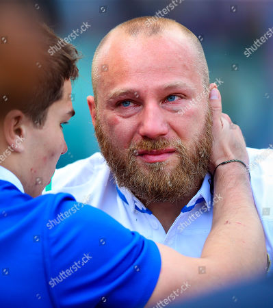 Stock Image of Italy vs France. Italy's Leonardo Ghiraldini dejected after the game