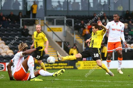Burton Albion midfielder William Miller (18) just fails to make contact with the ball during the EFL Sky Bet League 1 match between Burton Albion and Blackpool at the Pirelli Stadium, Burton upon Trent