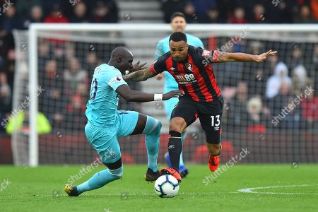 Mohamed Diame (10) of Newcastle United is fouled by Callum Wilson (13) of AFC Bournemouth during the Premier League match between Bournemouth and Newcastle United at the Vitality Stadium, Bournemouth