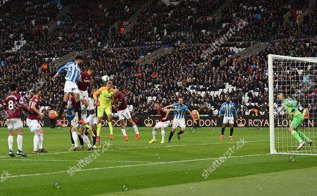 Pablo Zabaleta of West Ham United blocks the ball getting to Huddersfield Town Goalkeeper Jonas Lossl