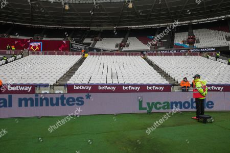General view of the away supporters seating in the Trevor Brooking stand ahead of the Premier League match between West Ham United and Huddersfield Town at the London Stadium, London