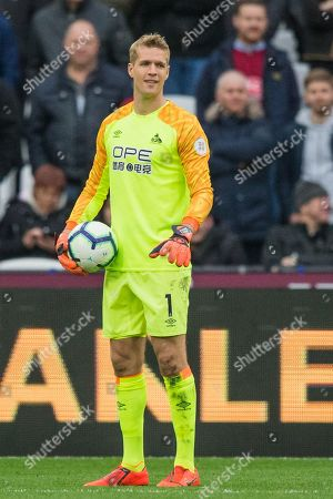Jonas Lossl (GK) (Huddersfield) during the Premier League match between West Ham United and Huddersfield Town at the London Stadium, London